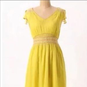 Anthropologie yellow embroidered dress 2